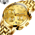 2019 Relogio Masculino LIGE мужские часы деловые Роскошные Топ брендовые золотые часы мужские спортивные водонепроницаемые кварцевые часы подарок