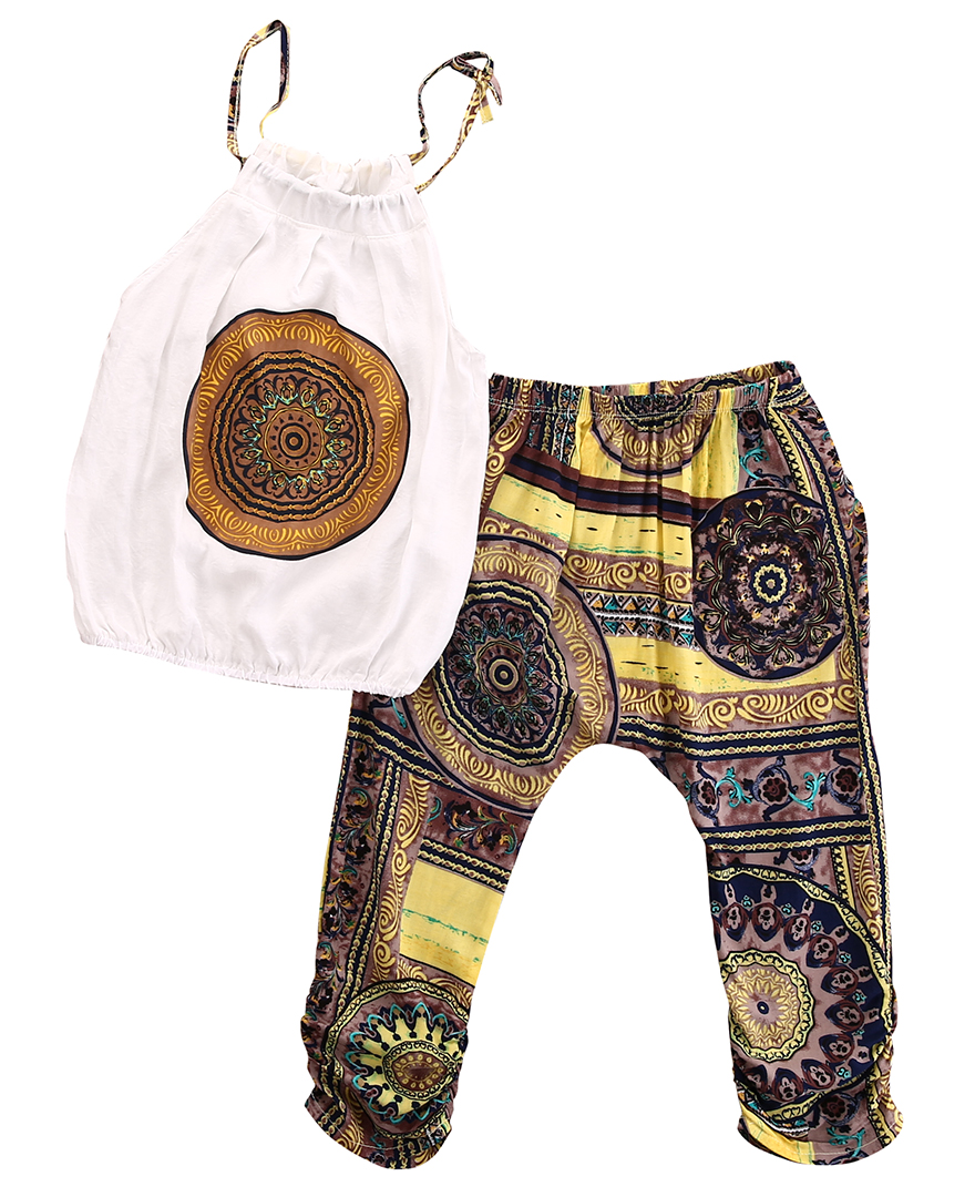 Toddler Kids Baby Girls Outfits National Clothes Sleeveless T-shirt Vest Strap Printing Tops+Long Pants 2PCS Set