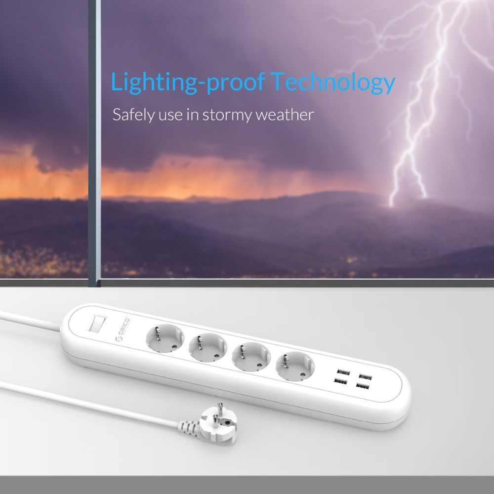 ORICO ODE inteligentny USB gniazdo listwy zasilającej ue wtyczka przełącznik przeciążeniowy zabezpieczenie przeciwprzepięciowe 4 wylot 4 Port USB ładowarka 5V2. 4A 20 W