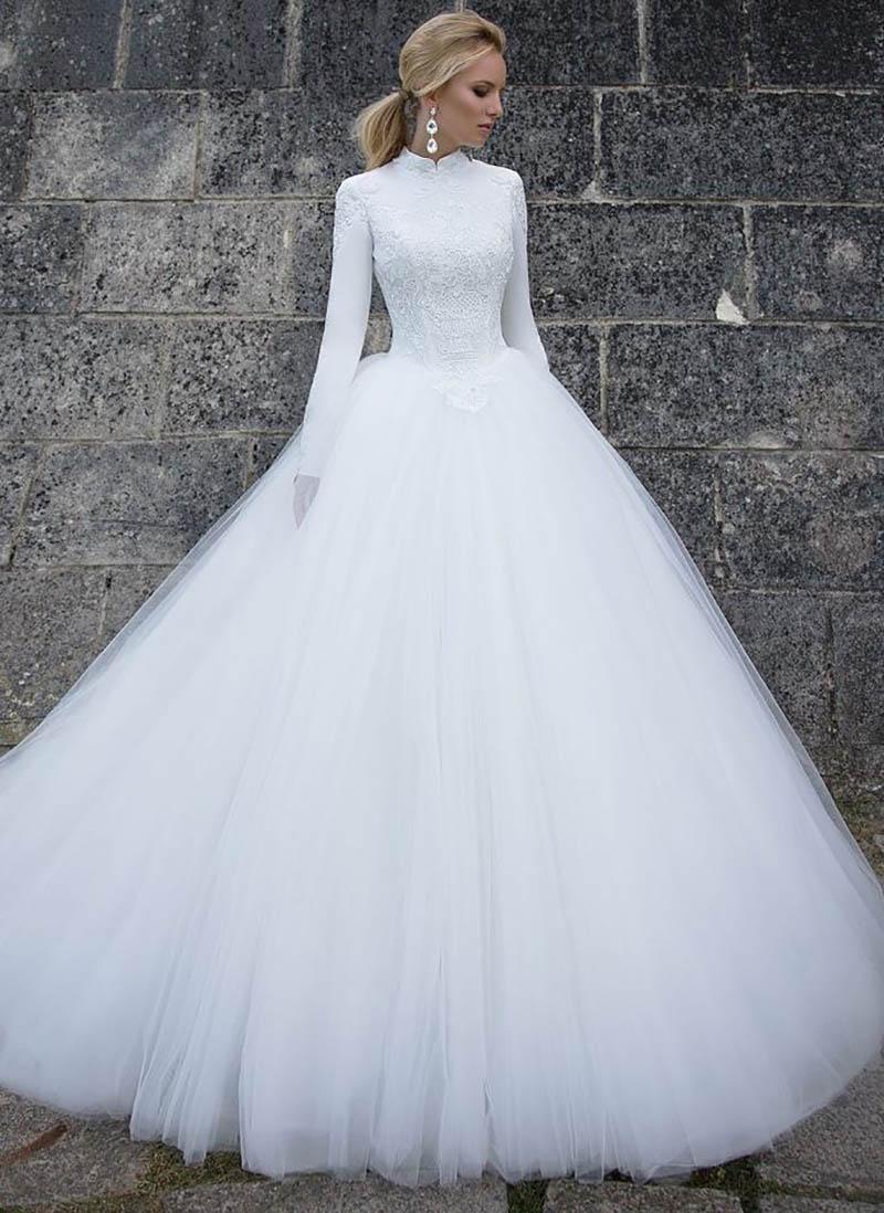 Lorie Muslim White Wedding Dress Long Sleeves Bride Dress 2019 Vestido Noiva Vintage Tulle High Neck Turkey Long Bridal Gowns Aliexpress Com Imall Com,Wedding Short Royal Blue Bridesmaid Dresses