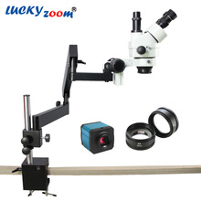 Discount! Lucky Zoom 7X-90X Articulating Arm Zoom Stereo Microscope+14MP USB HDMI Digital Industry Camera SZM2.0X Objective Auxillary Lens