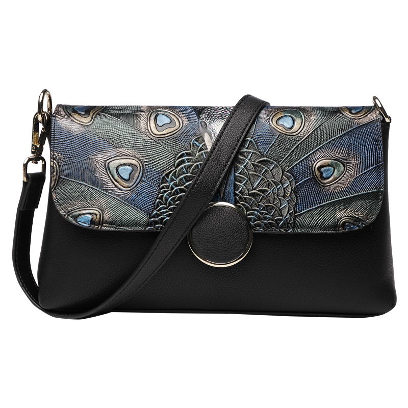 Gorgeous Round Buckle Peacock Feather Genuine Leather Women Wallet Clutch Purse Evening Shoulder Handbag Crossbody Bag Wristlet genuine leather women wristlet bag 2017 new fashion evening clutch purse shoulder chain crossbody handbags free shipping 5002