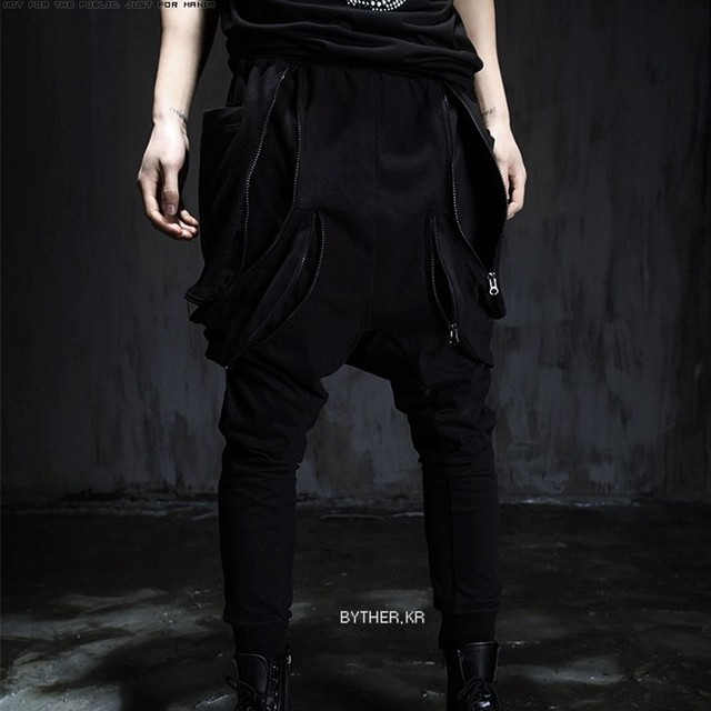 27-44!!Male non-mainstream hanging crotch  hiphop personalized multi-pocket harem fashion skinny pants