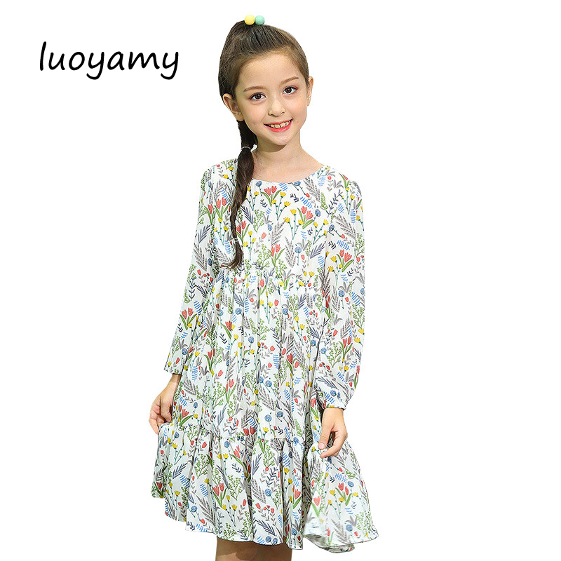 New Arrival Girls Floral Dress 2017 Autumn Kids School Wear Clothes Children Flower Printed Party Wedding Princess Dresses baby girls dress 2017 new children lace princess bow clothes toddler school wear wedding dresses for kids 3 6 8 10 11 years old