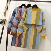 Large size L 4XL autumn winter women new stripe sweater knit set skirt Leisure fashion comfortable warm Knit top+skirt two piece