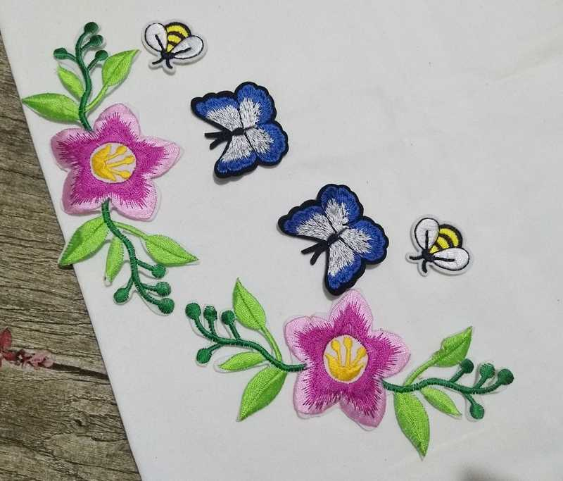 MIX6 Rosa Fiori parch Ricamato il Ferro sul Toppe e Stemmi per Vestiti di paillettes sew on patch flwoer Adesivi per I Vestiti Su Misura Distintivi e Simboli