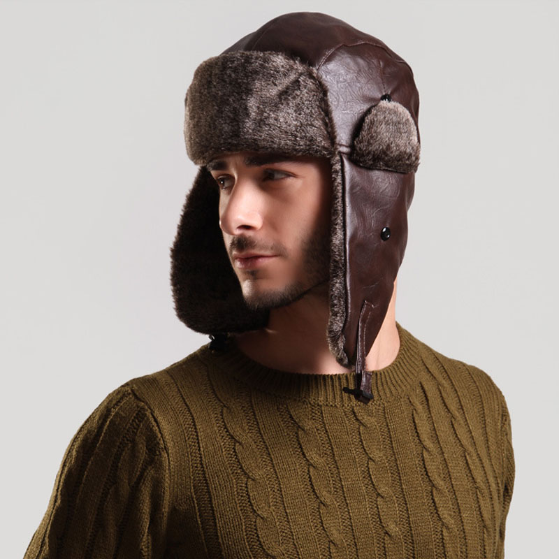 Bomber Hat With Ear Flap Mens Winter Faux Leather Fur Russian Earflap Trapper Cap Aviator Fleece Beanie Male