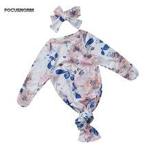 Мягкое спальное одеяло для новорожденных девочек, хлопковое платье с длинными рукавами и цветочным принтом+ повязка на голову