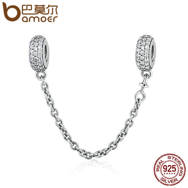 100% 925 Sterling Silver Pave Inspiration Safety Chain, Clear CZ Stopper Charms