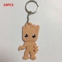 10pcs Guardians Of The Galaxy 2 Baby Groot Keychain Rocket Raccoon Keychains Pendants Figures Car Key