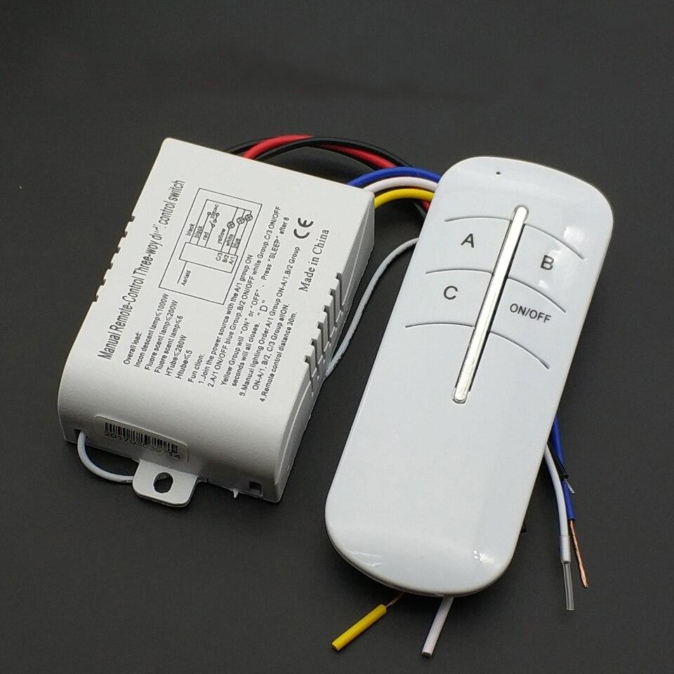 ON/OFF AC ricevitore Wireless lampada luce telecomando interruttore 220V 3 vie vendita calda intelligente