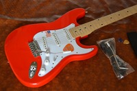 China electric guitar, three single pickup, orange, chrome plated accessories,