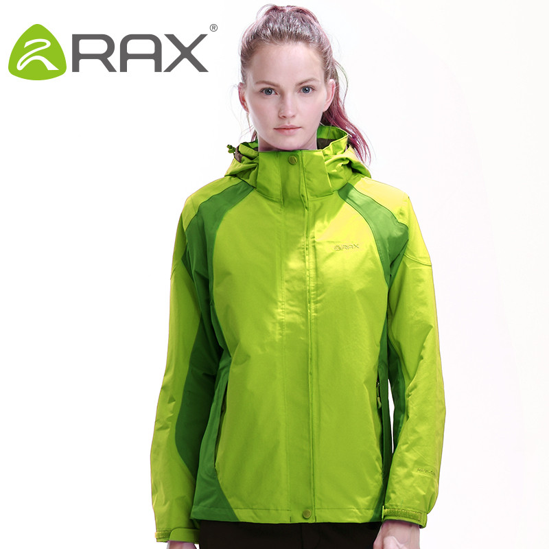 ФОТО RAX Winter Outdoor Waterproof Jacket Women Two-piece Fleece Jacket 3 in 1 Windproof Softshell Jacket Hiking Windbreaker Outdoor