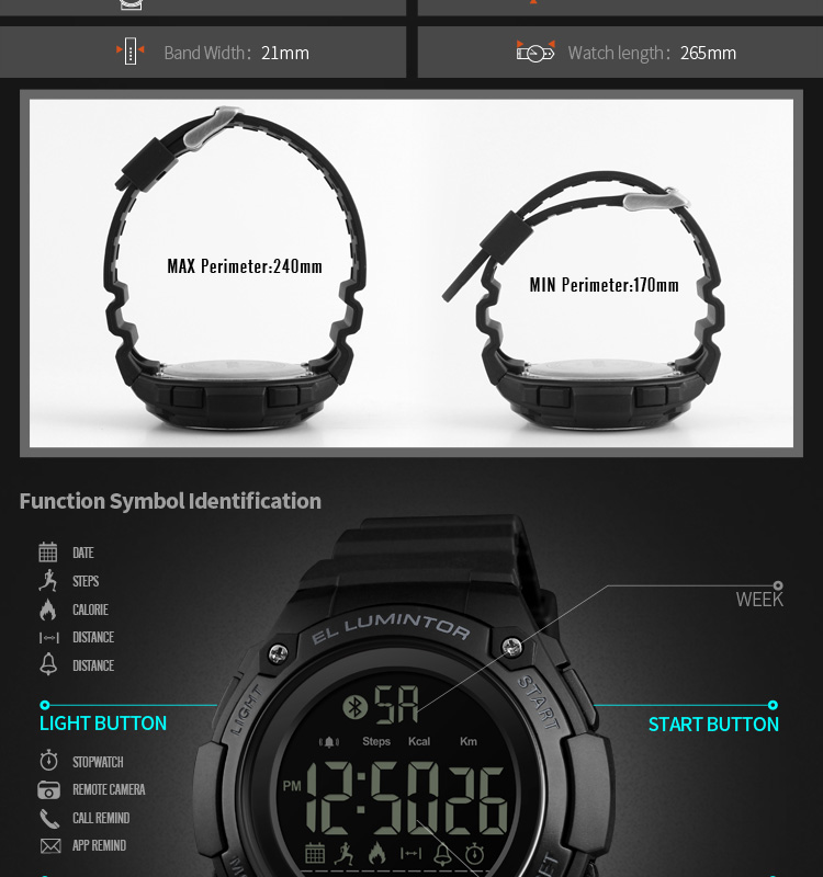 SKMEI 2019 New Bluetooth Sport Smart Watch Men Waterproof Calories Pedometer digital SmartWatch For IOS Android (14)