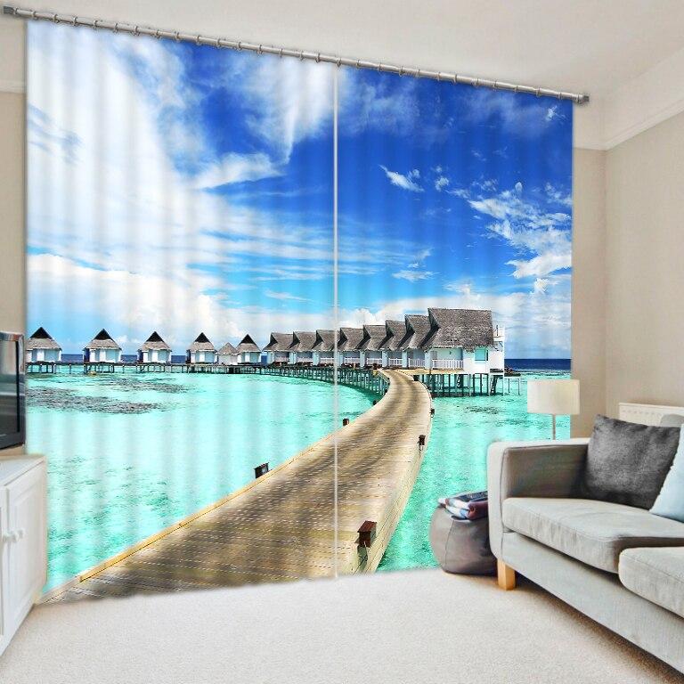 Море Resort photo print плотные шторы для спальни 3D шума персонализированные пользовательские ткани