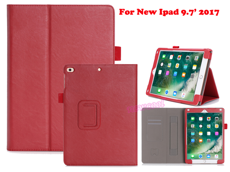 For Apple New iPad 9.7 2017 A1822 9.7 inch Tablet Luxury Leather With Wallet Card Slot Hand Strap Stand Case Cover + Film