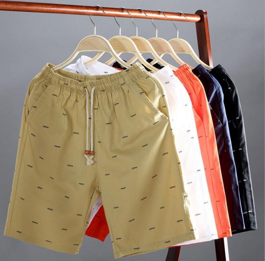 Shorts Mens Bermuda Slim-Fit Khaki White Casual Fashion 5XL