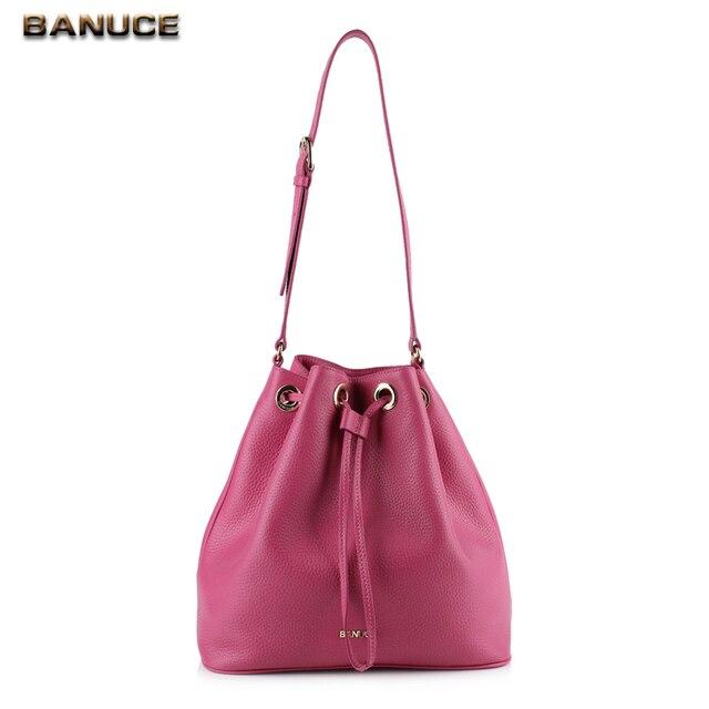 b228504cafab US $131.88 |BANUCE 100% Top Grains Leather Bag Women's Drawstring Bucket  Bag Femal Ladies Fashion Handbag Large Capacity Shoulder Bags PA-in  Crossbody ...