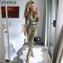 ZYFPGS 2019 Women Bodysuit Rompers Sexy Womens Jumpsuit Fashion Golden Glowing Casual Metal Color Sales Leader Rich Loose Z1111
