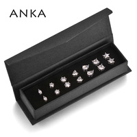ANKA Classic Cubic Zirconia Stud Earrings Set For Women Rhodium Color Classic Simple 7 Pairs Party Jewelry In Black Box #133429