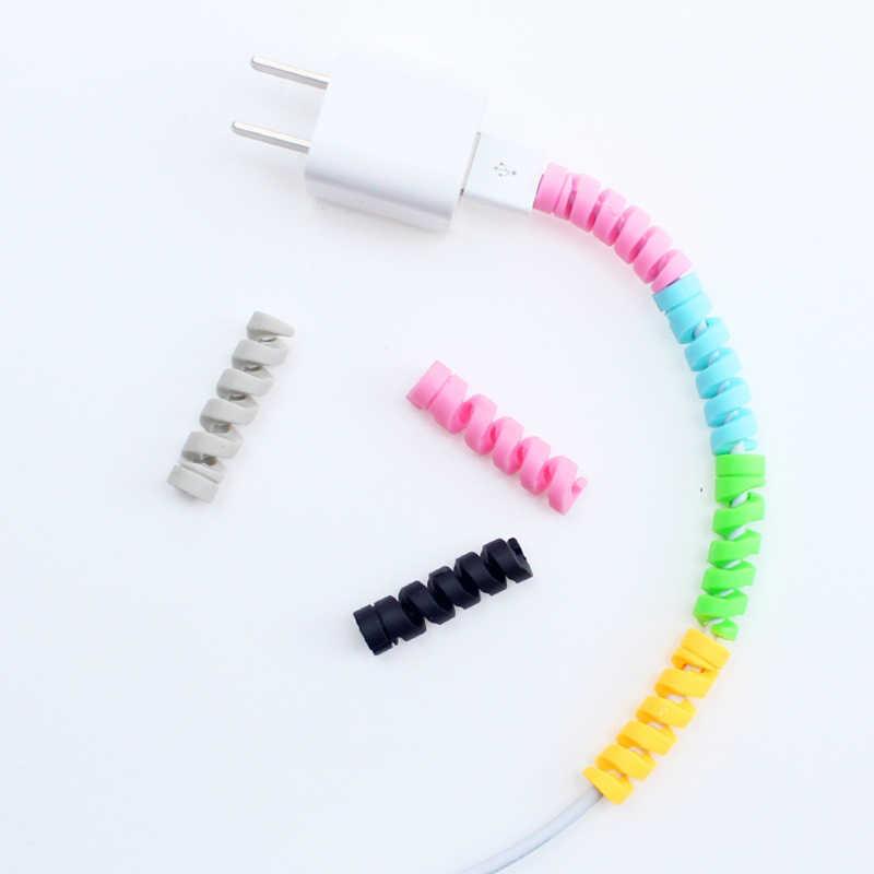 10 шт. спиральный кабель защитная линия передачи данных ТПУ моталки аксессуары чехол для iphone samsung Android usb зарядка чехол для наушников
