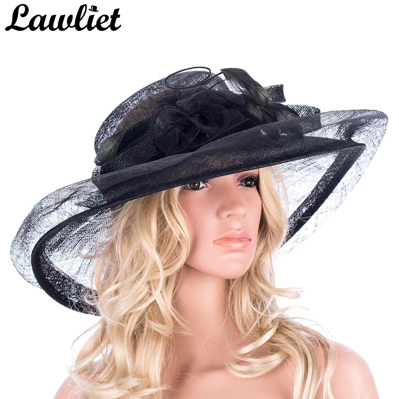 Women Hats Wide Brim Sinamay Hats Ladies Feather Ribbon Church Hats for Kentucky Derby Cocktail Wedding Party