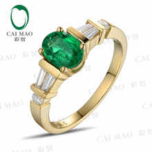 CaiMao 0.78 ct Natural Emerald 18KT/750 Yellow Gold  0.33 ct Full Cut Diamond Engagement Ring Jewelry Gemstone