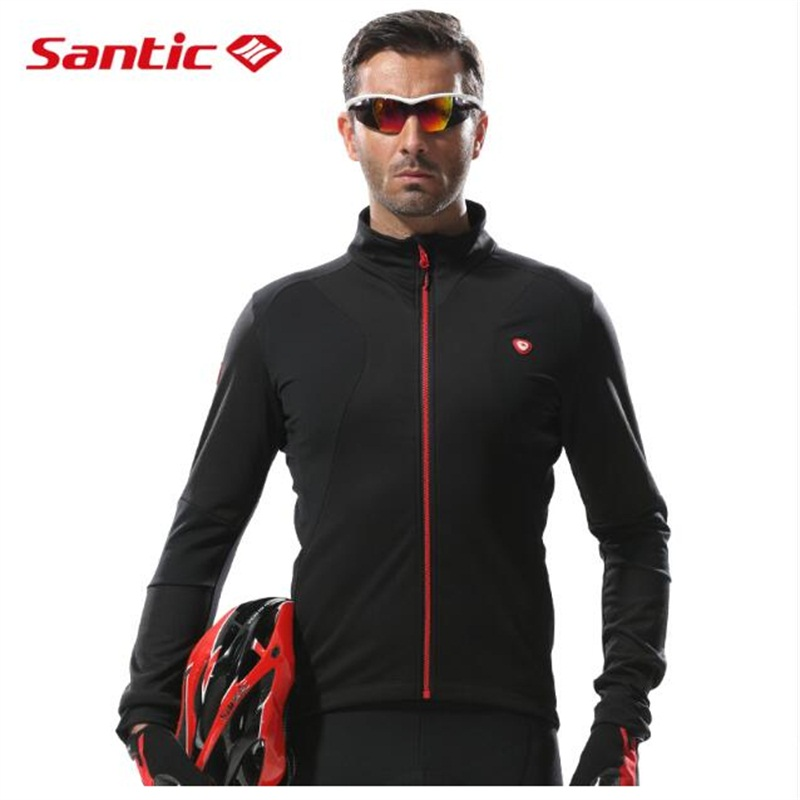 Santic Cycling Jerseys Men Thermal Fleece Long Sleeve Cycling Jacket Outdoor Windproof Full Zipper Warm Cycling Jacket цена