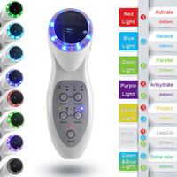 100V 240V Portable Ultrasonic 7 LED Photon Lights Sonic Lifting Face Lift Care Skin Cleaner Wrinkle Remover Facial Beauty Massag