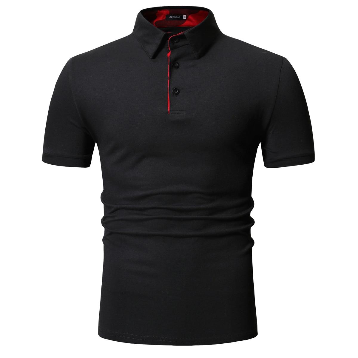 Men   Polo   Shirt 2019 New Men's Plain Slim Cotton Casual Short-sleeve   POLO   Shirt