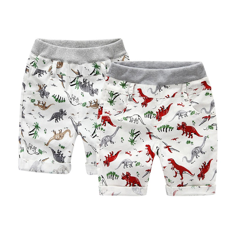 Summer Boys Shorts Children Beach Wear Dinosaur Pattern Boys Bottom Pants 2~7 Ages Kids Boys Character Sports Shorts Hot Sale