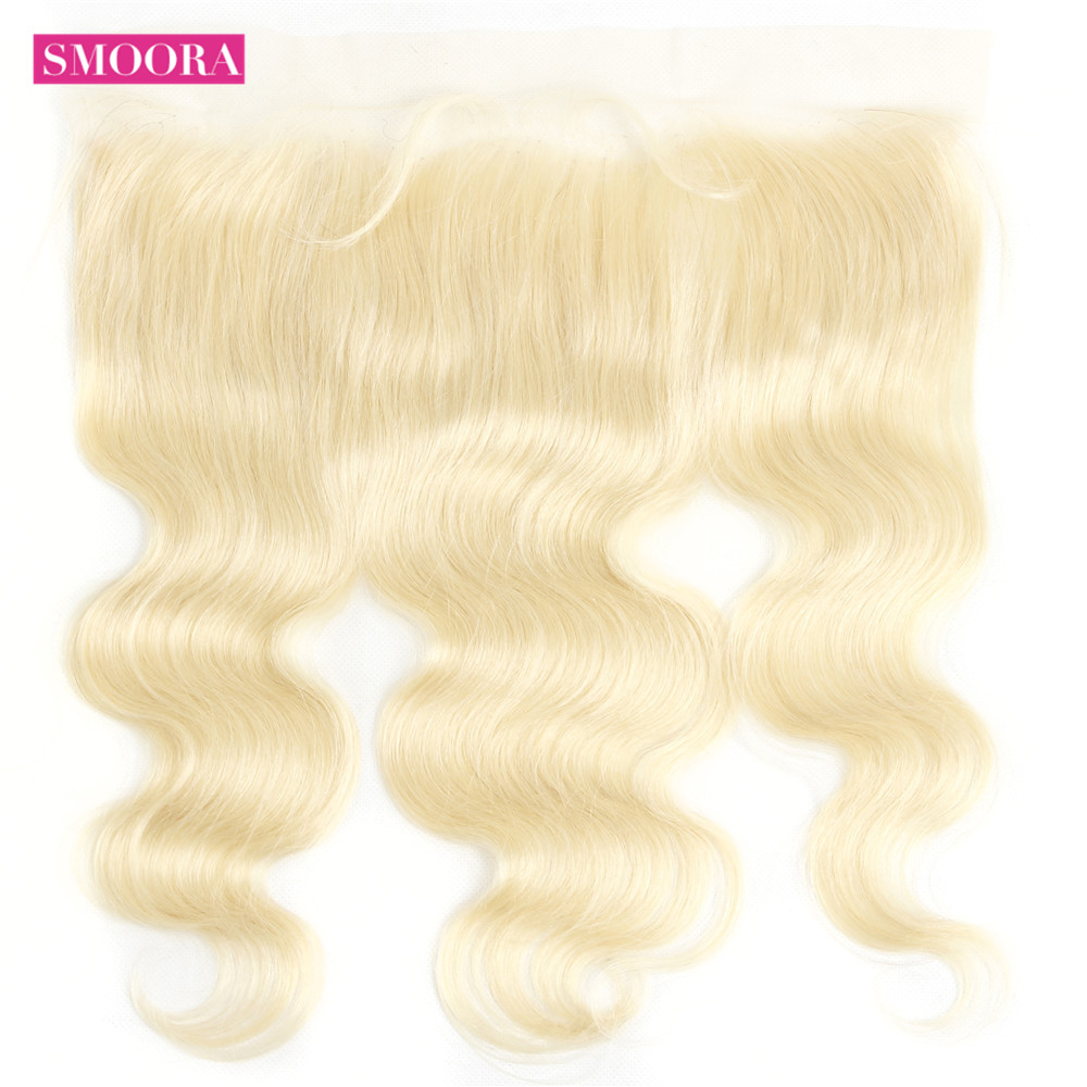 HTB1UcKeKNnaK1RjSZFtq6zC2VXap Smoora 613 Blonde Bundles with Frontal Peruvian Body Wave Blonde Human Hair Bundles with Pre Plucked Frontal Ear to Ear Non Remy