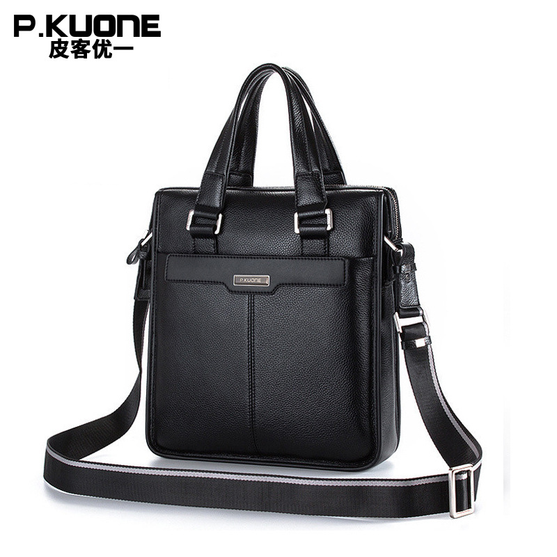 New P.kuone brand men bag handbag genuine leather bag cowhide leather men briefcase business casual men messenger bags hot sale