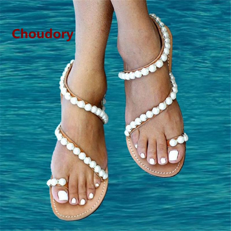 pearl string bead sandals peep clip toe flip flops hollow chaussure femme sexy party flat summer. Black Bedroom Furniture Sets. Home Design Ideas