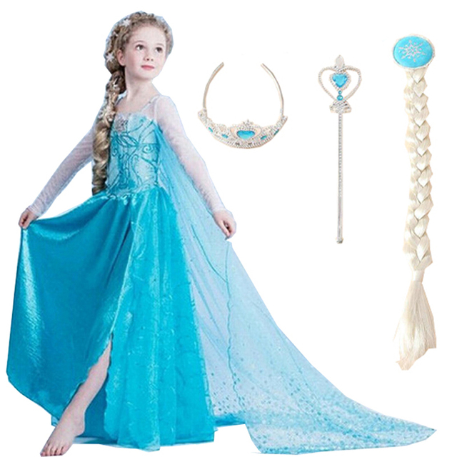2018 girls dresses elsa dress princess movie cosplay party dress