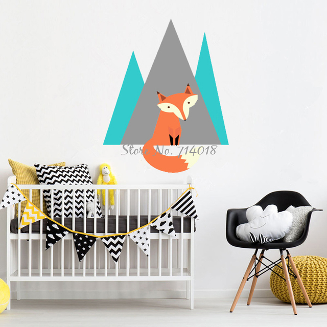 Fox Mountain Wall Stickers Vinyl Decal For Kids Baby Bedroom Nursery Wallpaper Home Decor 3D
