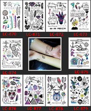 LC-877/10 Styles Fashion Geometric Temporary Tattoos Owl Diamond Triangle Tattoos Modern Unisex Letter Body Tattoos