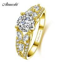 AINUOSHI 10 К твердого желтого золота сверкающих кольцо женские свадебные Обручение Jewelry 4 зубцами 1ct Круглый Cut SONA алмаз свадебные полосы