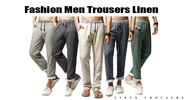 HTB1UcL7fqagSKJjy0Fcq6AZeVXaF Men Pants Linen Drawstring Flax Pants Straight Full Length solid Linen Cotton Home Men's Trousers Fashion Pants Linen Size M-3XL