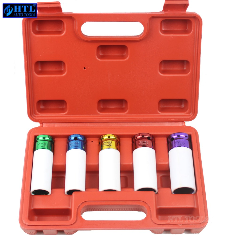 5pcs Thin Wall Alloy Wheel Nut Socket Deep Impact Socket Set 15mm 17mm 19mm 21mm 22mm 1/2