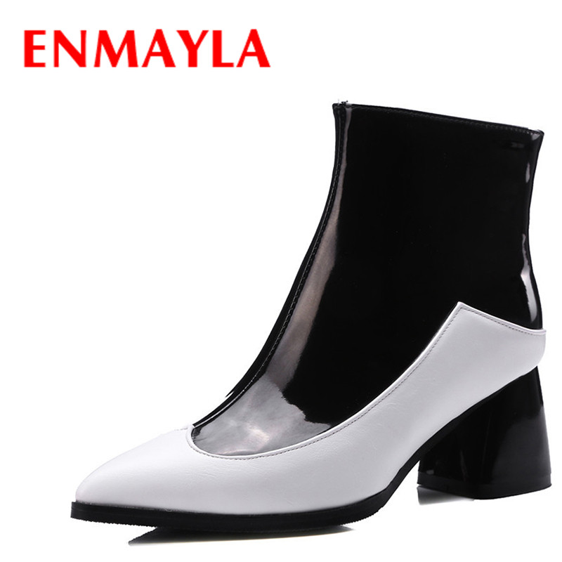 ENMAYLA Winter High Heels Shoes Woman Mixed Colors Sexy Pointed Toe Ankle Boots for Women Autumn Red Black Boots Big Size 43 enmayla fashion front zipper ankle boots women chucky heels square toe high heels shoes woman black yellow suede autumn boots