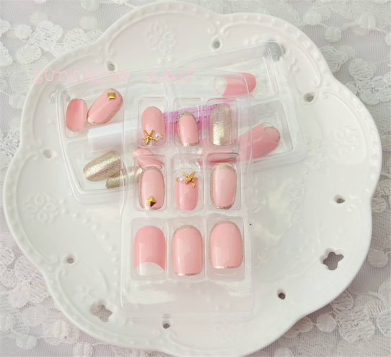 24pcs/set Beauty Pre Design Oval Nail Tips with Star Decoration ...