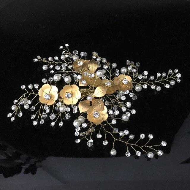 Купить заколка для волос с жемчугом и золотыми кристаллами