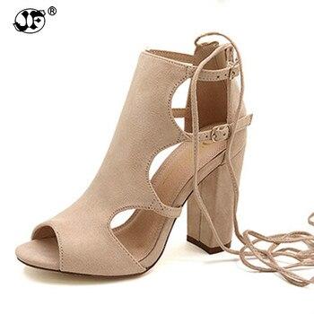 5703f579 3 color Sexy Mujer Sandalias de tacón vendaje de tobillo Correa bombas tacones  altos tacones cuadrados zapatos de señora zapatos de gran tamaño 43