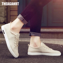 THEAGRANT 2019 Men Casual Shoes Breathable Hemp Flat Shoes Lace Up Fashion Sneakers Vintage Male Canvas Shoes Footwear MSN3000