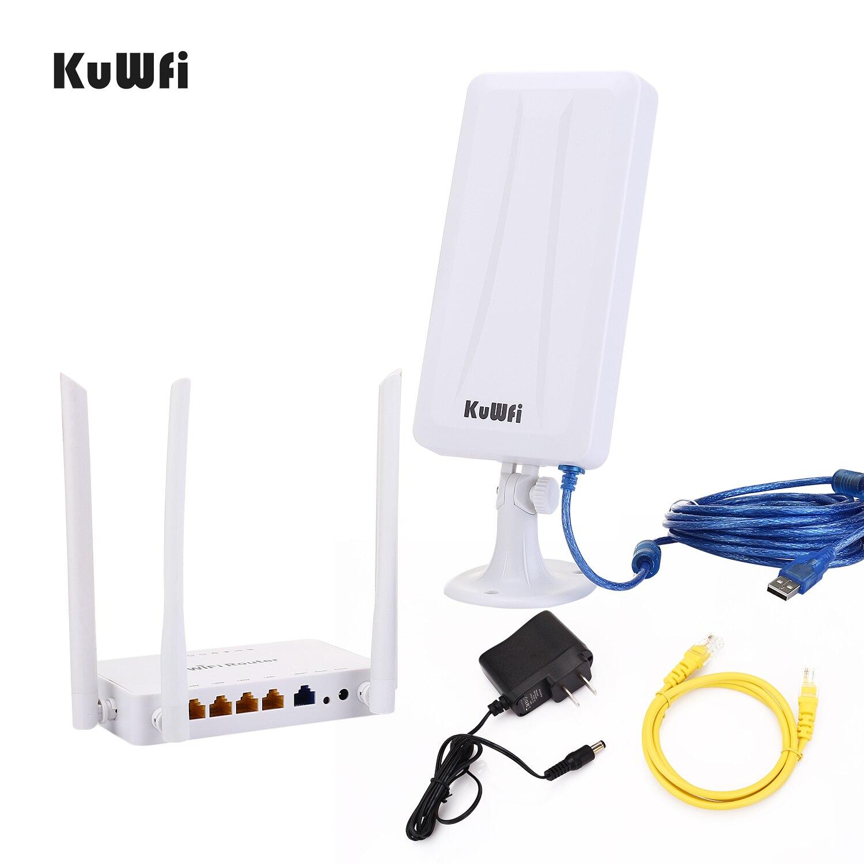 Routeur sans fil KuWFi 300mbps + adaptateur Wifi USB haut Gain 300Mbps routeur Wifi haute puissance un ensemble étendre le Signal Wifi partager 32 utilisateurs