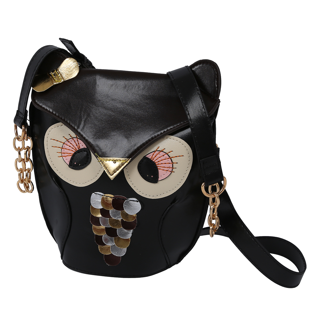 5pcs of Ladies Fashion Adjustable Owl Pattern Chain Shoulder Bag