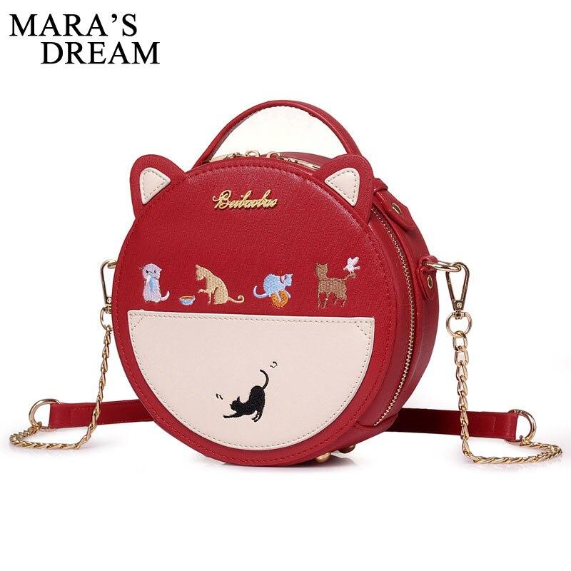 a94c6046a49d Мечта Мары Для женщин Мода сумка вышивка кошка Для женщин круглая сумочка  из искусственной кожи Crossbody