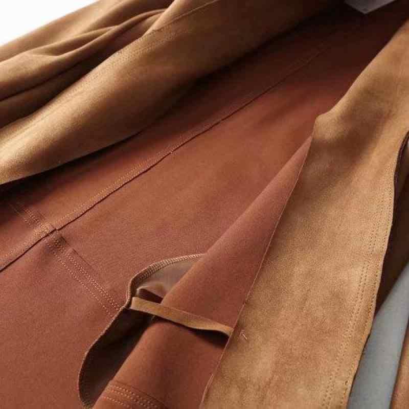 Fitaylor, новинка, Женское пальто с отложным воротником, замшевая кожаная женская куртка, ветровка с карманами, элегантная верхняя одежда с длинным рукавом