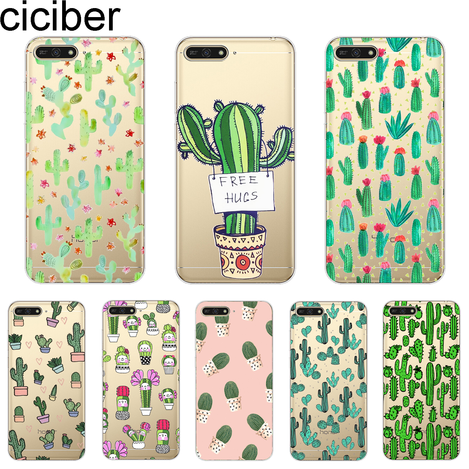 ciciber Cover For <font><b>Huawei</b></font> Y9 Y7 Y6 <font><b>Y5</b></font> Y3 Prime Pro 2018 2017 <font><b>2019</b></font> Phone Cases Cute Plant Cactus Shell <font><b>Capa</b></font> Coque Capinha Soft TPU image